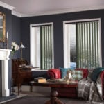 forest green vertical window blinds in a traditional luxury living room