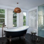 marble coloured vertical window blinds covering multiple windows in a modern bathroom with a large roll top bath