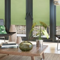 perfect fit green venetian window blinds in a modern conservatory
