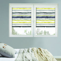 perfect fit roller window blinds with a striped watercolour paint pattern