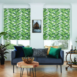 roman window blinds with bright palm leaf pattern