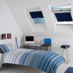 navy velux window blinds in a bedroom