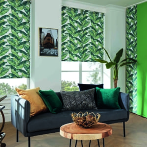 roller window blinds with a bold palm leaf pattern