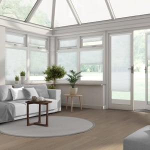 white pleated conservatory window blinds